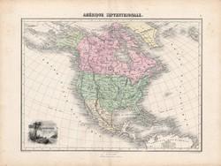Észak - és Közép - Amerika térkép 1880, francia, atlasz, eredeti, 34 x 47 cm, Egyesült Államok, régi