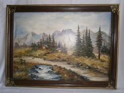 Alpesi tájkép szignózott festmény. Olaj-vászon technika, ismeretlen festő munkája.