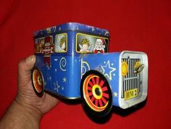 Szinte antik csokoládés Mikulás autó lemez doboz gyűjtőknek működik a képek szerinti állapotban
