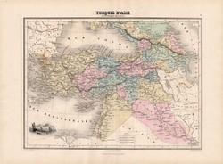 Törökország (Ázsia) térkép 1880, francia, atlasz, eredeti, 34 x 47 cm, régi, Migeon, Universelle
