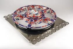 0Z812 Forgatható Japán porcelán asztalközép kínáló