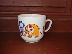Retro Hollóházi elefántos csésze, kicsi bögre , nosztalgia darab, paraszti dekoráció