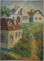 TABÁN 1933 szignós, jelzett akvarell kép festmény