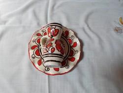 Korondi kerámia falitányér és kis bokály (népi falidísz, piros)