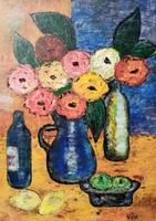 Vén Emil 1902-1984: Virágcsendélet üvegekkel 1982.