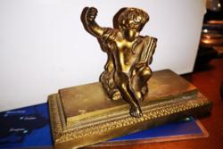 Tűzaranyozott bronz puttó szobor