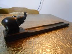 Füstölőtartó zsírkő faragott elefánt fekete keleti