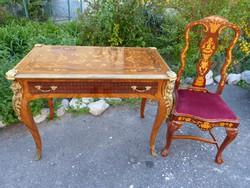 Intarziás neobarokk íróasztal + szék.