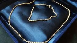 Pénzverdés 14 kr.arany szett Wales lánc és karkötő.