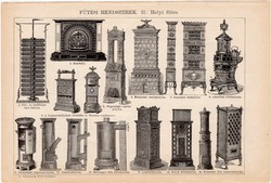 Fűtési rendszerek I. és II., egyszínű nyomat 1892, magyar, Athenaeum, központi, kályha, kandalló