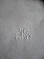 2 db antik, monogramos damaszt szalvéta, 54 x 56 cm