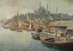 Török festő XIX. század : Istambul kikötői jelenet