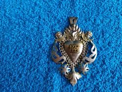 Jézus szíve!Antik Barokk ezüst kegytárgy!