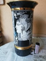 Nagy Hollóházi Szász Endre váza 30,5 cm