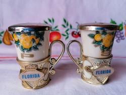 """Florida feliratú fűszertartó pár 70-80 évek """"Souvenir"""" műagyag"""