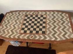 Márvány,sakk intarziás asztallap