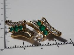 Smaragd és cirkon köves ezüst fülbevaló
