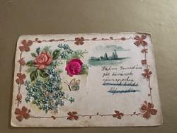 Selyem betétes dombornyomott szecessziós 1904 képeslap