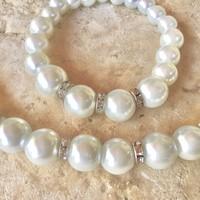 divatos fehér tekla gyöngyékszer szett gyöngysor, karkötő, fülbevaló