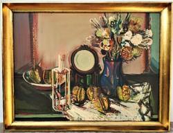 Dobrovits Ferenc(1941-1988) Csendélet c. Képcsarnokos olajfestménye .97x77cm Eredeti Garanciával !!!