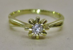 Gyönyörű 0.14ct gyémánt arany virág  gyűrű