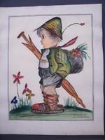 Korabeli festett akvarell Hummel kép másolat