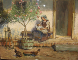 GARANTÁLTAN EREDETI UJVÁRY IGNÁC / 1860-1927/ FESTMÉNY: FALUSI MADONNA 1926