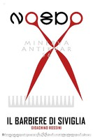 Rossini: Sevillai borbély minimalista opera plakát, olló, no8do, Sevilla logo, fésű, kotta