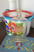 Antik Orosz parfümös üveg,  kölnis, Gyűjtői ritka darab, nosztalgia darab, paraszti dekoráció