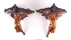 0Z619 Antik faragott fa puttó angyalos falikonzol pár 27 cm ~ 1850 körül