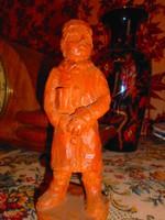 Terrakotta szignált kisfiú szobor-kézi formálás