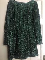 Smaragdzöld flitteres ruha 46-os