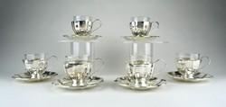 1A077 Régi üvegbetétes jelzett ezüst kávéskészlet