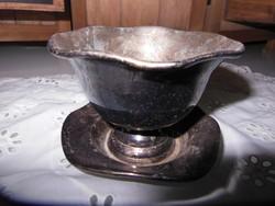 Fém - régi ezüstözött - fagyikehely - 10 x 8 cm - tisztítás szükséges - hibátlan