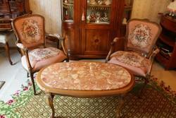 Barok rokoko szalon asztal két goblein karosszékkel