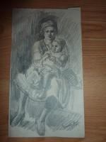 Egerváry Potemkin Ágost: Anya gyermekével, jelzett régi ceruzarajz