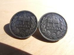 Ferenc József 1 korona 1915 kitűzőn (170114)