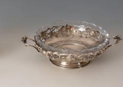 Ezüst szecessziós üveges kínáló
