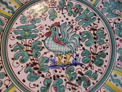 Daruta zöld kakasos  fali tányér Habán stílus