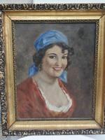 Női portré, fiatal lány festmény! Lány kendőben színes dekoratív festmény.