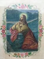 Jézus festmény, festett plusz körben hímezve varrva virágok!! Impozáns mû, imádkozó Jézus