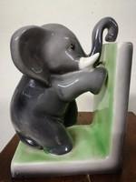 Goldscheider elefánt figurát ábrázoló  könyvtámasz.  RITKA!