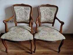 2db neobarokk karfás szék, gépi goblein kárpitozással
