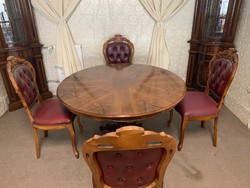 Neobarokk étkező kerek asztallal 4 db bőr székkel
