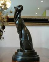 Art deco párduc figura - bronz szobor