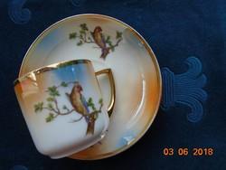 1921 UNION K (KLOSTERLE) Kézzel festett Madaras,gyöngyház mázas kávés csésze alátéttel