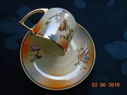 1921 UNION K (KLOSTERLE) Kézzek festett Madaras,gyöngyház mázas kávés csésze alátéttel