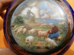Altwien dobozka, bonbon, bonbonier! Kobaltkék színben Báránykák, lánnyal szélmalom! Bécs, Ausztria.