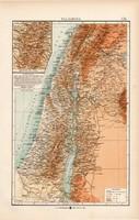 Palesztina térkép 1904, eredeti, Moritz Perles, német, atlasz, régi, Ázsia, K. u. K. Hofbuchhandlung