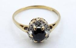 Gyönyörű régi aranygyűrű zafír és gyémánt arany gyűrű 9 kt